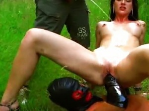 Big tit babe fisted and pissed on outdoors