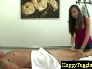 Asian masseuse jumping on her customers dong