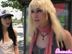 Bailey Jay hooks up with Bee Armitage for some hardcore shemale sex!