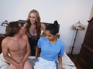 Stepmom Watches as Stepson Gets Blowjob from the Maid