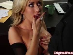 Big titted Capri Cavanni drools on cock and gets plowed on desk