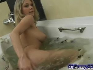 young cute perky blonde bathing