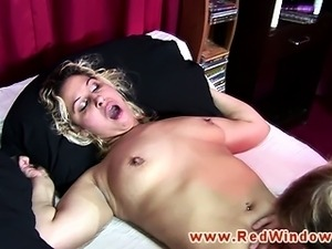 Blonde hooker pussylicked and sucks cock