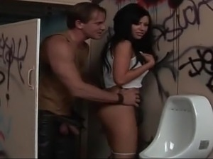 Tattooed babe gets hardcored in public toilet