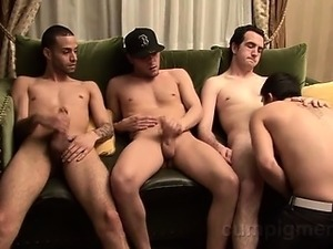 3 straight, italian dudes visit Logan and he takes turns