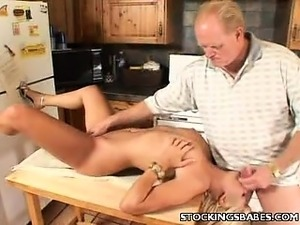 Cute Blonde Performs Oral in the Kitchen