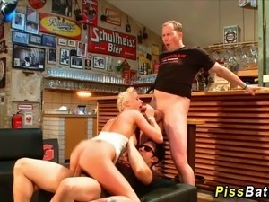 Watersports loving fetish babe gets fucked and sucks cock in hd