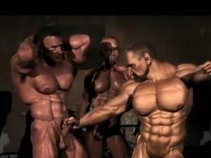 3d anime muscular gays foursome handjob