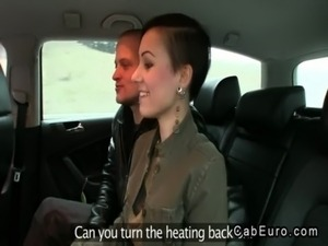 European married couple foreplay in fake taxi free