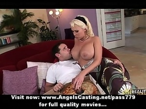 Hot brunette in bikinis does blowjob for pizza guy with pizza on cock