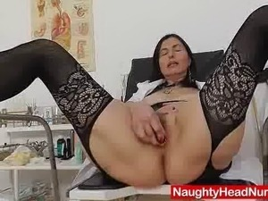 Unshaved grandmother will self exam her woolly pussy on gynochair using...