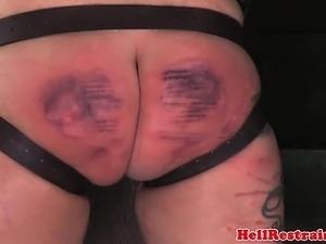 Bruised sub punished with a paddled