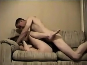 Army Guy Fucks His GF On The Sofa