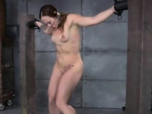 Zipper clamped submissive learns discipline