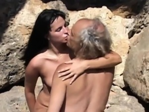 Freaky old fart fucking kinky minded young brunette