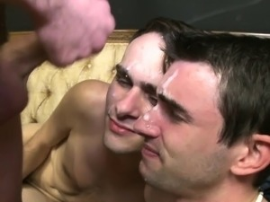 Hazed frat twinks facialized after anal