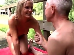Sex girl old men and young men Naked on a bridge in a public