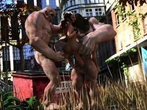 3D Badass Girl Destroyed by Mutants!
