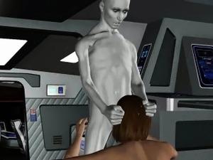 3D brunette babe sucking on an alien\'s hard cock
