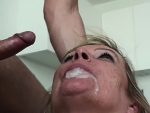 Lingerie mature sub lady takes cum in mouth