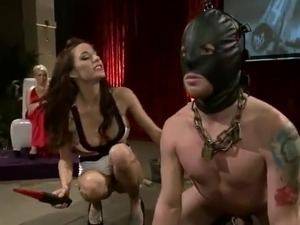 Reverse gang bang close by Pegging Featuring 3 Nice Dominant girls