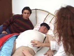 private nurse stimulate old fat man