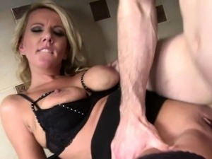 Busty blonde MILF gets fucked in the kitchen