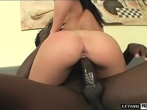 Sultry Latina beauty with a sublime ass goes wild for a big black rod