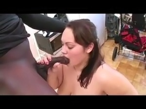 BBW sucks a huge black dick for cash