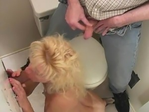 White slut Brings Her Man To An  Gloryhole
