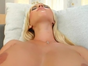 Blonde Oils Her large titties Up And playthings Her trimmed fuzz