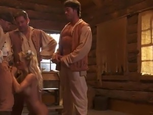 Insane MILF Gives 3 persons Blowjobs inside the Hunting Cabin