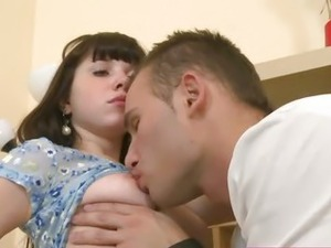 Small titted teenager penetrated on the bed