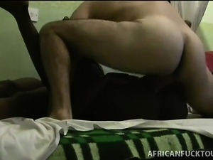 Skinny ebony freak gets fucked from every possible angle