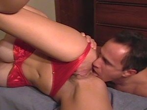 Busty Milf Twyla rimmed in Red Lingerie