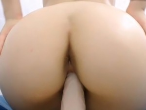 Babe with hot sexy round ass riding dildo tight pussy