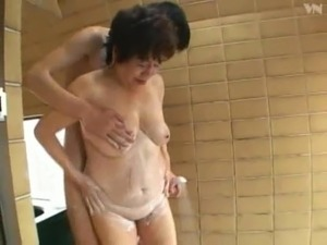 65yo Asian Granny Bath