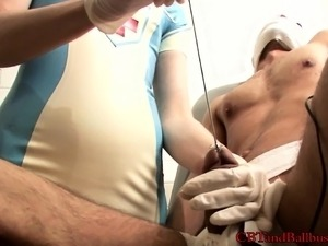 Lusty blonde nurse can't get enough of torturing a sexy stud