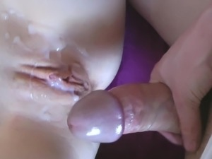 Cumming all over her shaved muff