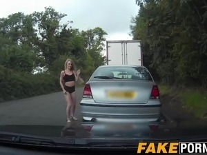 Petite blonde chick gets pulled over and fucked on cop car