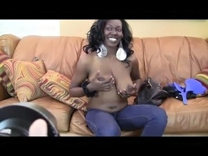 Big boobed black chick likes white cock & cum in her mouth
