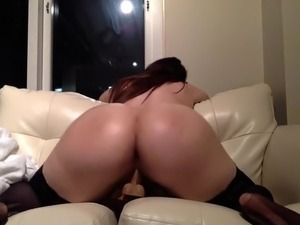 Chubby sexy brunette rides dildo on webcam