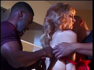 Blonde hottie likes thick black cock