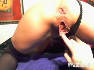 Extreme amateur fisted and fucked with a dildo in her loose urethra...