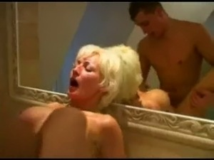 Mature fucking young boy in bathroom