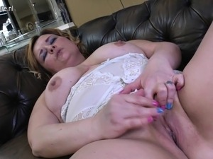 Naughty chubby mother masturbating on casting couch