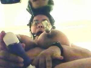 Self Bondage Ebony BBW Standing Orgasm