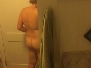 Spying on wife's perky titties and fat ass before shower