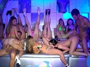 Teen models in bikini on a club party