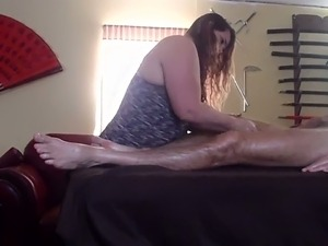 Chubby British bitch gives me awesome oily massage and hot blowjob